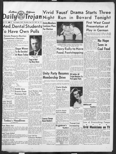 Daily Trojan, Vol. 41, No. 10, September 22, 1949