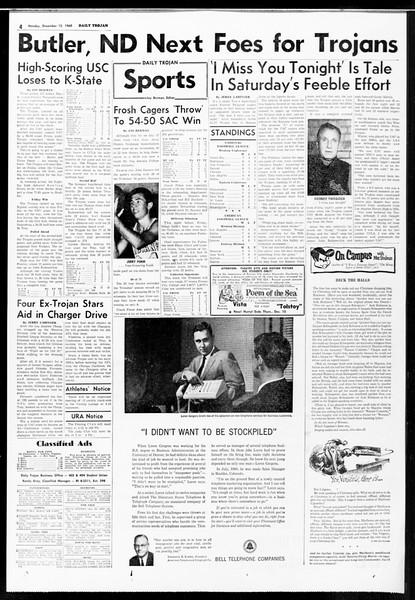 Daily Trojan, Vol. 52, No. 57, December 12, 1960