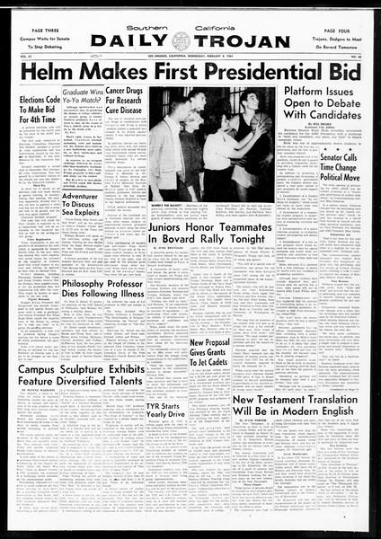 Daily Trojan, Vol. 52, No. 66, February 08, 1961