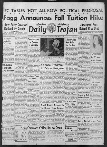 Daily Trojan, Vol. 43, No. 114, April 09, 1952