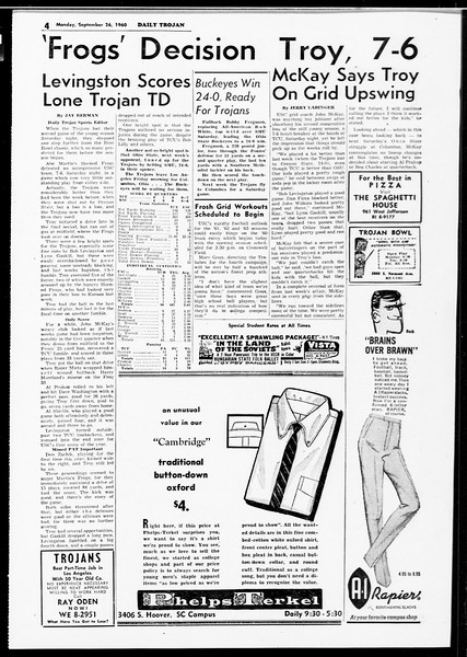 Daily Trojan, Vol. 52, No. 6, September 26, 1960