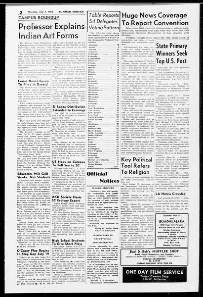 Summer Trojan, Vol. 10, No. 5, July 07, 1960