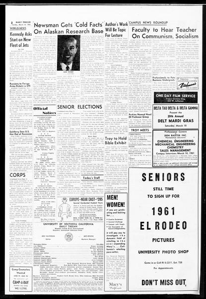 Daily Trojan, Vol. 52, No. 90, March 14, 1961