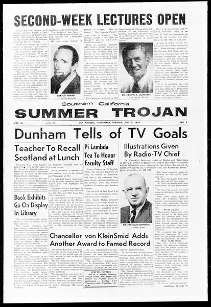 Summer Trojan, Vol. 9, No. 5, July 07, 1959