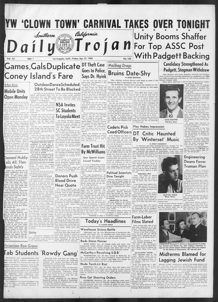Daily Trojan, Vol. 41, No. 120, April 21, 1950