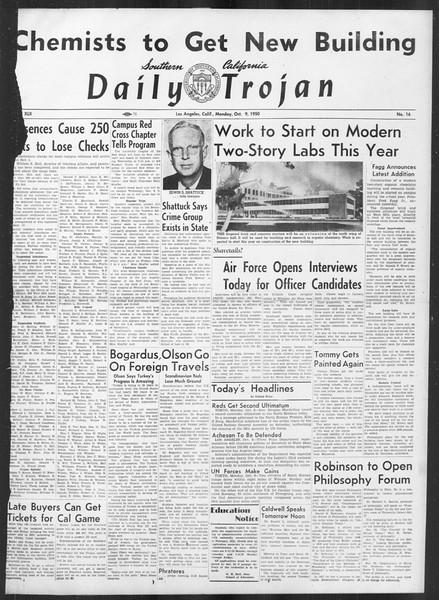 Daily Trojan, Vol. 42, No. 16, October 09, 1950