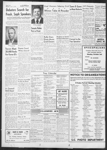Daily Trojan, Vol. 42, No. 11, October 02, 1950