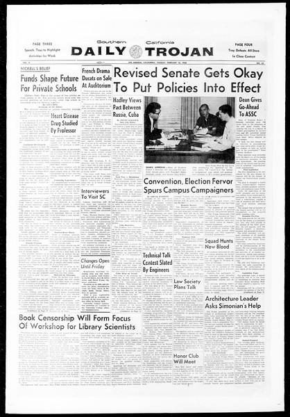 Daily Trojan, Vol. 51, No. 65, February 16, 1960