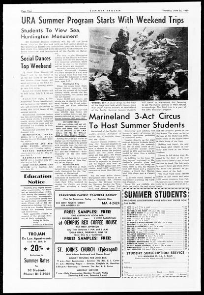 Summer Trojan, Vol. 9, No. 2, June 25, 1959