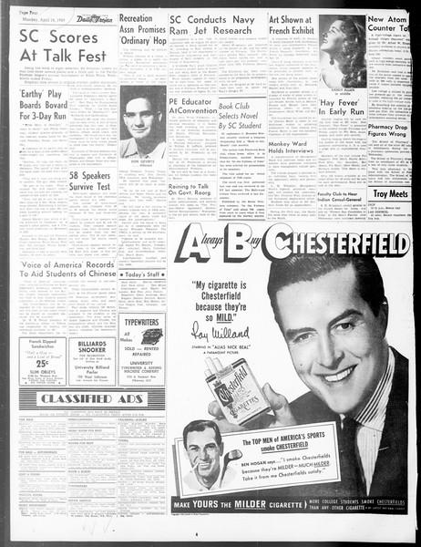 Daily Trojan, Vol. 40, No. 120, April 18, 1949
