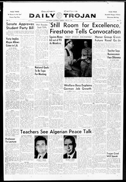 Daily Trojan, Vol. 52, No. 114, April 27, 1961