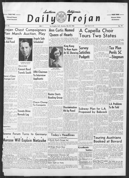 Daily Trojan, Vol. 41, No. 79, February 20, 1950
