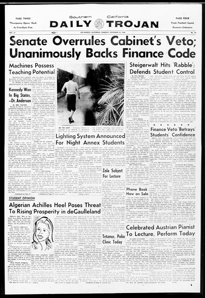 Daily Trojan, Vol. 52, No. 38, November 10, 1960