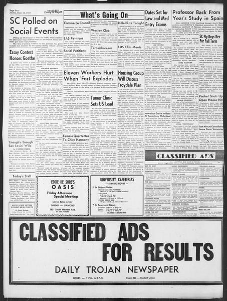 Daily Trojan, Vol. 41, No. 6, September 16, 1949