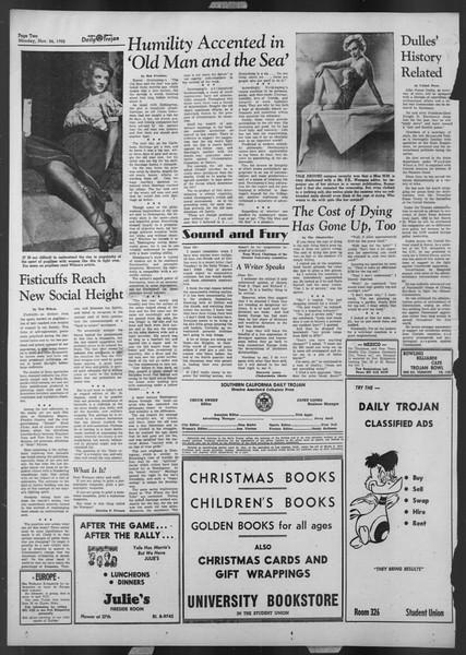 Daily Trojan, Vol. 44, No. 50, November 24, 1952