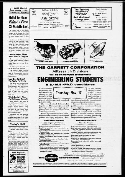 Daily Trojan, Vol. 52, No. 39, November 11, 1960