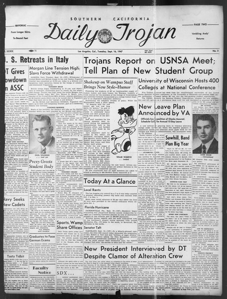 Daily Trojan, Vol. 39, No. 2, September 16, 1947