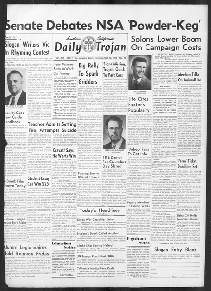 Daily Trojan, Vol. 42, No. 19, October 12, 1950