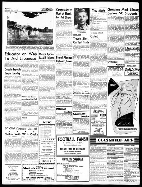 Daily Trojan, Vol. 40, No. 16, October 04, 1948