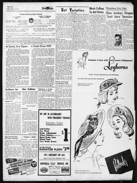 Daily Trojan, Vol. 38, No. 126, May 02, 1947