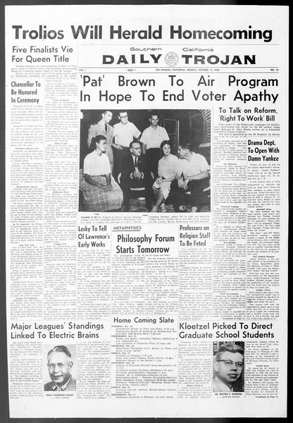 Daily Trojan, Vol. 50, No. 16, October 13, 1958