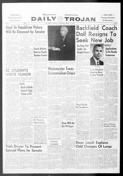 Daily Trojan, Vol. 50, No. 67, February 11, 1959