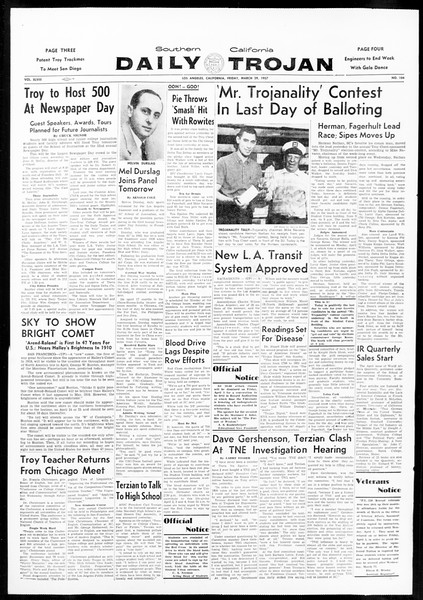 Daily Trojan, Vol. 48, No. 104, March 29, 1957