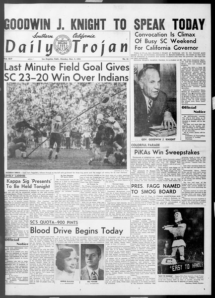 Daily Trojan, Vol. 45, No. 35, November 09, 1953