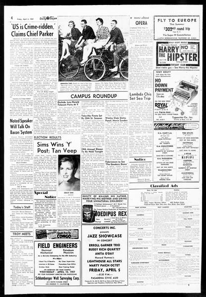 Daily Trojan, Vol. 48, No. 109, April 05, 1957
