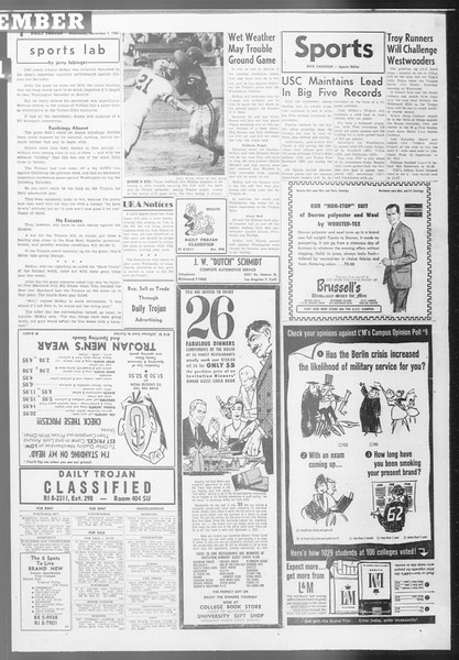 Daily Trojan, Vol. 53, No. 32, November 01, 1961