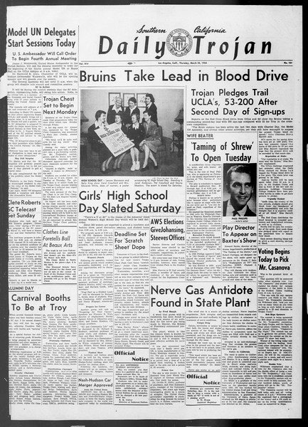 Daily Trojan, Vol. 45, No. 101, March 25, 1954
