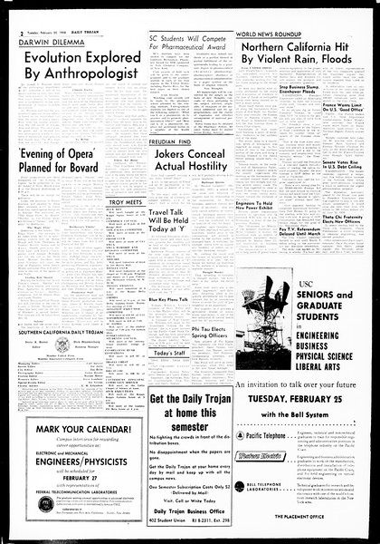 Daily Trojan, Vol. 49, No. 73, February 25, 1958