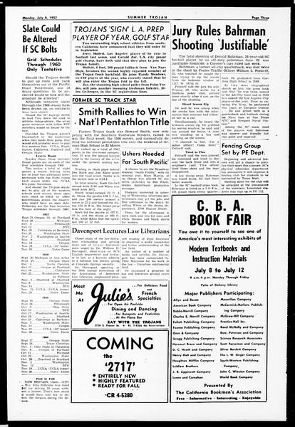Summer Trojan, Vol. 12, No. 4, July 08, 1957