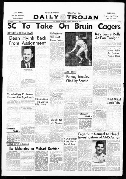 Daily Trojan, Vol. 48, No. 81, February 26, 1957