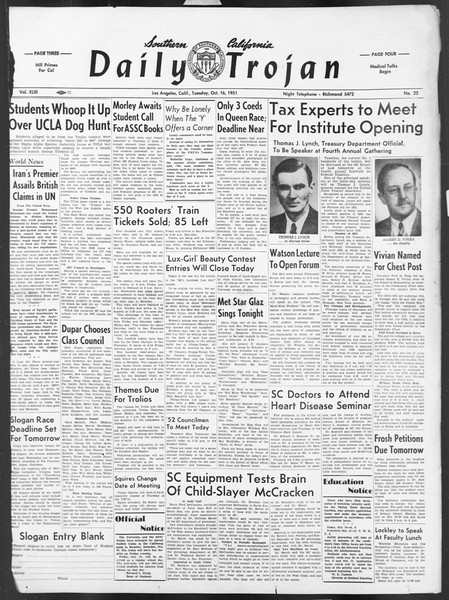 Daily Trojan, Vol. 43, No. 22, October 16, 1951