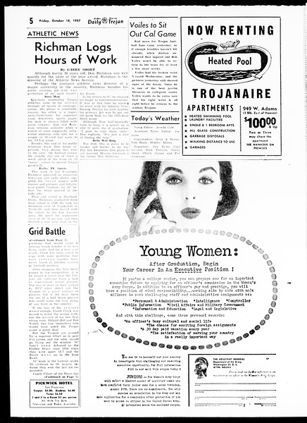 Daily Trojan, Vol. 49, No. 19, October 18, 1957