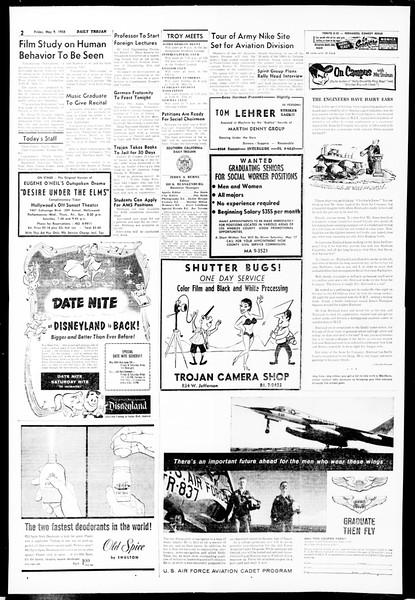 Daily Trojan, Vol. 49, No. 116, May 09, 1958