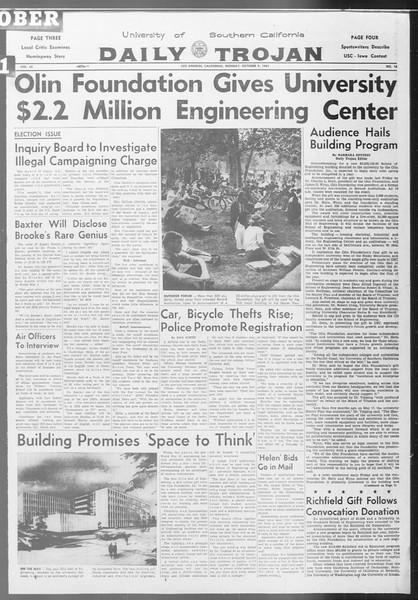 Daily Trojan, Vol. 53, No. 16, October 09, 1961