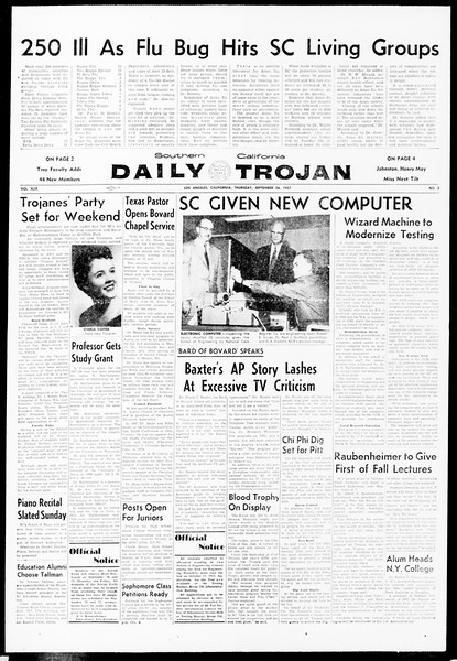 Daily Trojan, Vol. 49, No. 3, September 26, 1957