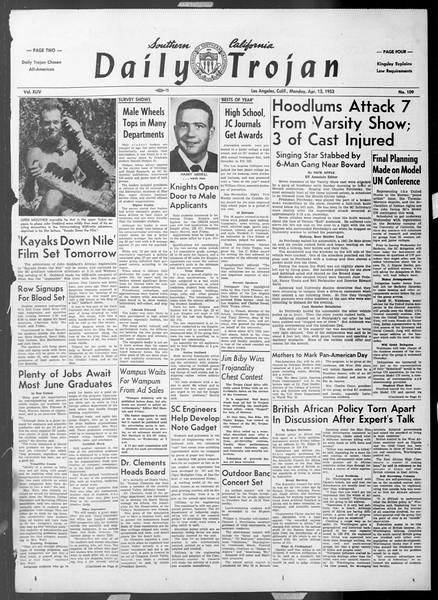 Daily Trojan, Vol. 44, No. 109, April 13, 1953