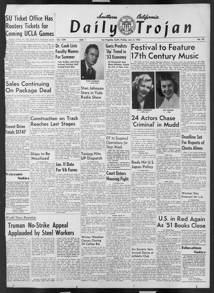 Daily Trojan, Vol. 43, No. 63, January 04, 1952