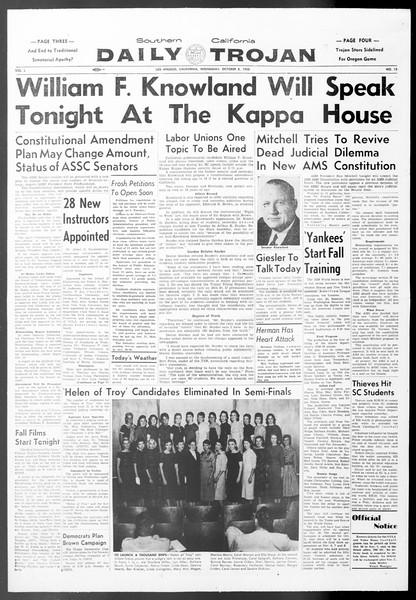 Daily Trojan, Vol. 50, No. 13, October 08, 1958