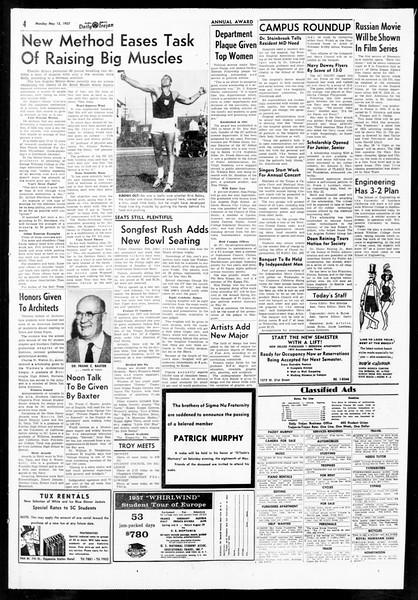 Daily Trojan, Vol. 48, No. 129, May 13, 1957