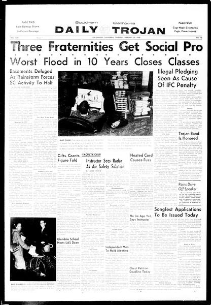 Daily Trojan, Vol. 49, No. 70, February 20, 1958