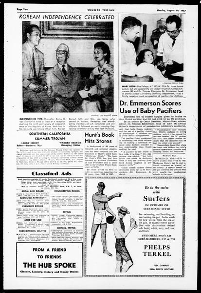 Summer Trojan, Vol. 12, No. 13, August 19, 1957
