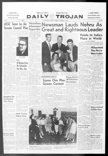 Daily Trojan, Vol. 50, No. 41, November 17, 1958
