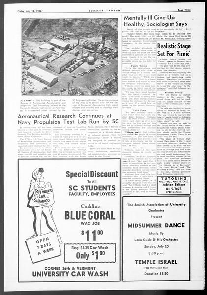 Summer Trojan, Vol. 8, No. 7, July 18, 1958