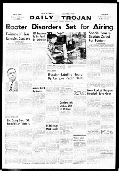 Daily Trojan, Vol. 49, No. 12, October 09, 1957