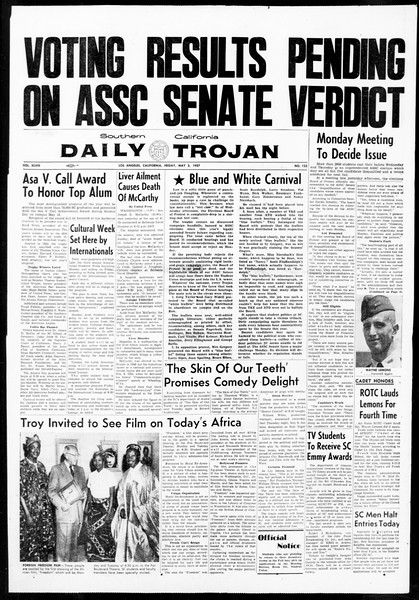 Daily Trojan, Vol. 48, No. 123, May 03, 1957
