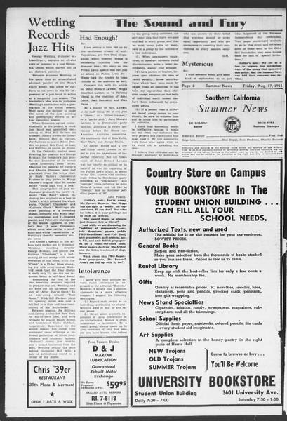 Summer News, Vol. 6, No. 16, August 17, 1951